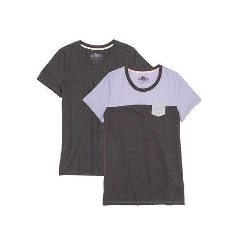Bonprix Shirt z krótkim rękawem (2 szt.) antracytowy melanż - bez