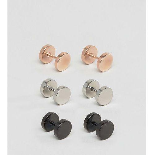 Designb london Designb plug earrings in 3 pack exclusive to asos - multi