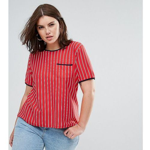 Asos curve t-shirt in retro stripe with contrast trim and pocket - multi