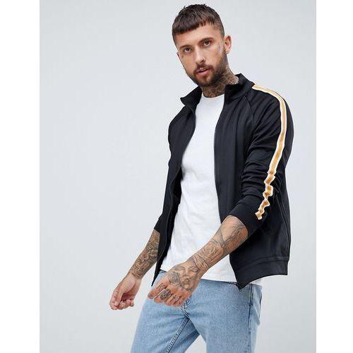 Bershka track jacket in black with side stripe - Black