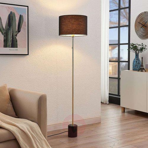 josias lampa stojąca klosz z tkaniny czarna marki Lindby