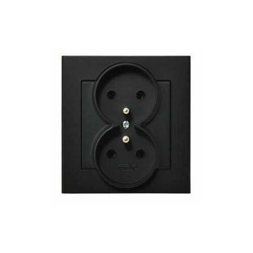 Gniazdo podwójne z ramką SONATA Ospel czarny metalik z/u 16A IP20 GP-2RZ/33 (5907577446888)