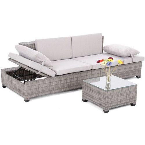 Home&garden Meble ogrodowe  sofa ogrodowa z technorattanu milano 2 w 1 szary / jasnoszary + darmowy transport! (5902425322680)