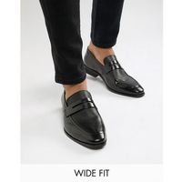 wide fit wing tip loafers in black leather - black, Dune