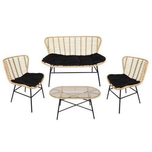 Vente-unique Zestaw ogrodowy nicoya z technorattanu: sofa 2-osobowa, 2 fotele i stolik kawowy