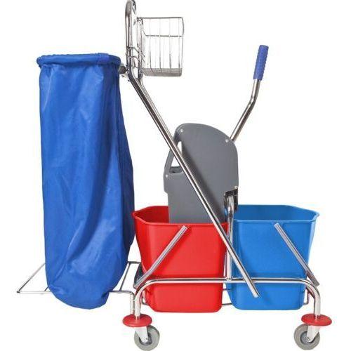 Wózek do sprzątania dwuwiaderkowy 2x17 l z uchwytem na worek wózki do sprzątania, wózek do mycia podłóg, marki Clean