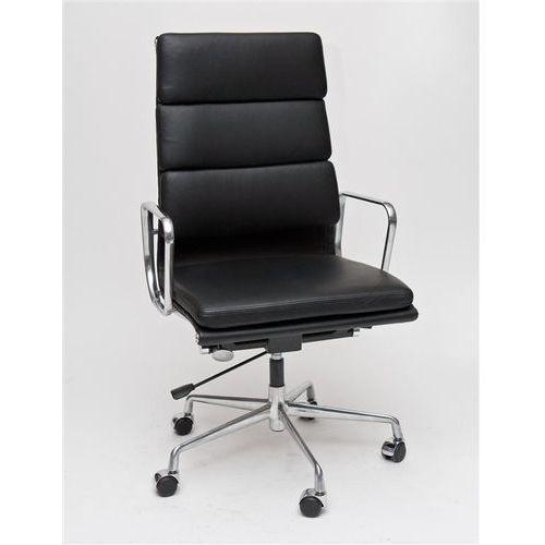 Fotel biurowy CH inspirowany EA219 skóra, chrom - czarny, 97