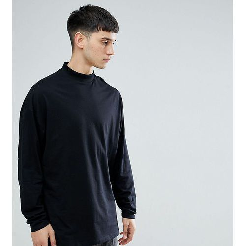tall super oversized turtle neck t-shirt with long sleeves in black - black marki Asos