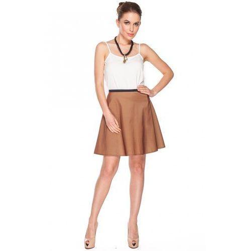 Krótka spódnica brązowa rozkloszowana - Duet Woman, rozkloszowana