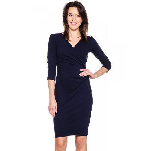 Kopertowa sukienka w głębokim, granatowym odcieniu - Carmell, kolor niebieski