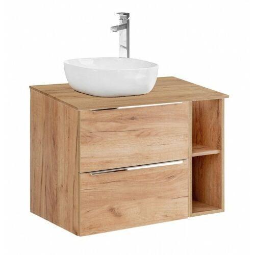 szafka capri oak 2s dąb craft złoty pod umywalkę nablatową + moduł otwarty + blat 80 dąb capri oak 820 + 810 + 891 marki Comad