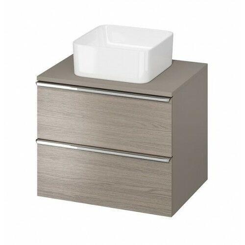 CERSANIT szafka Virgo 60 dąb szary pod umywalkę nablatową, chromowane uchwyty S522-022, S522-022