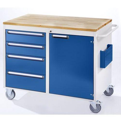 Stół warsztatowy, ruchomy, 4 szuflady, 1 drzwi, blat roboczy z drewna, jasnoszar