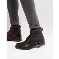 marly leather chunky boots with warm lining in brown - brown marki Jack & jones