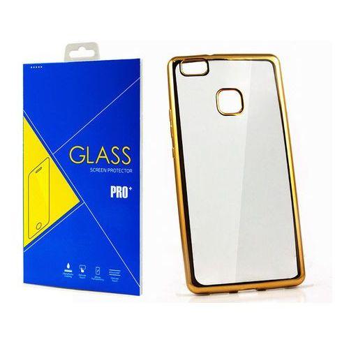 Etui Mirror Gel Bumper Huawei P9 Lite złote + Szkło - Złoty