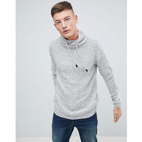 jumper with wrap around collar in grey marl - stone, Pull&bear