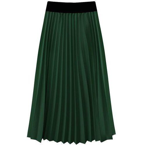 PLISOWANA SPÓDNICA MIDI ZIELONA (201ART) - zielony