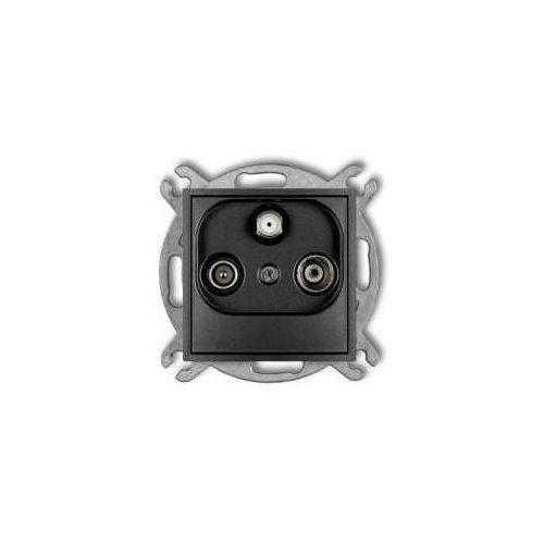 Karlik Gniazdo antenowe mini 11mgm rtv-sat końcowe multimedialne (internet) grafitowy (5903268585898)