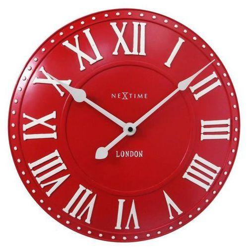 Nextime Zegar ścienny london roman czerwony