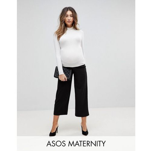 cropped black wide leg trousers in jersey crepe - black marki Asos maternity