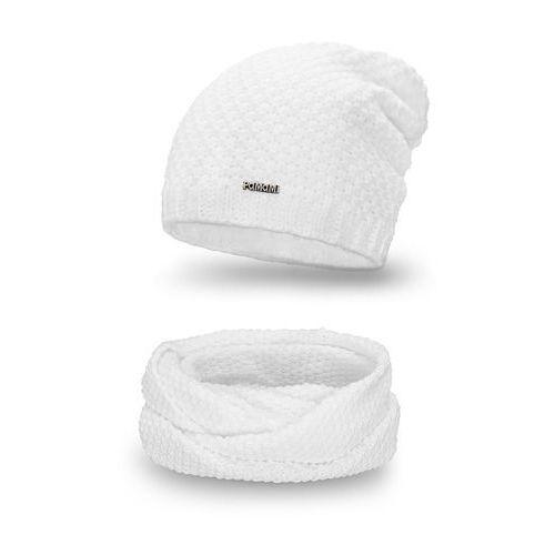 Komplet PaMaMi, czapka i komin - Biały - Biały, kolor biały