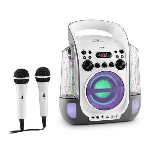 OKAZJA - kara liquida zestaw karaoke cd usb mp3 strumień wodny led 2 x mikrofon mobilny marki Auna