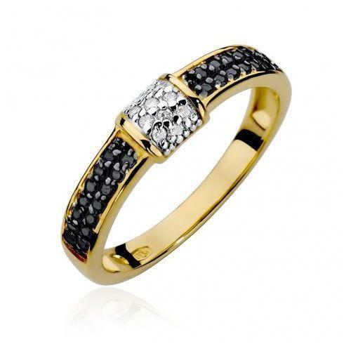 Pierścionek SAXO 14K z czarnymi brylantami 0,14ct W-297 Złoty, kolor żółty