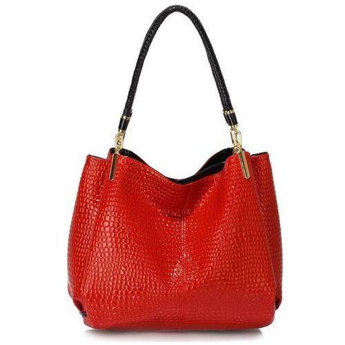 Czerwona lakierowana torebka na ramię skóra węża - czerwony, kolor czerwony