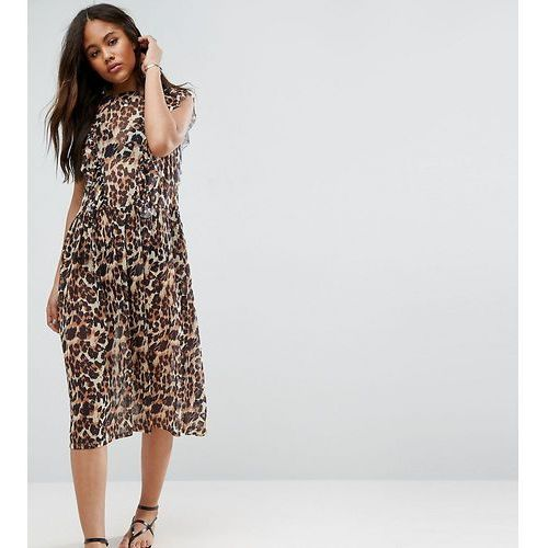 Asos tall  animal smock mesh dress - brown