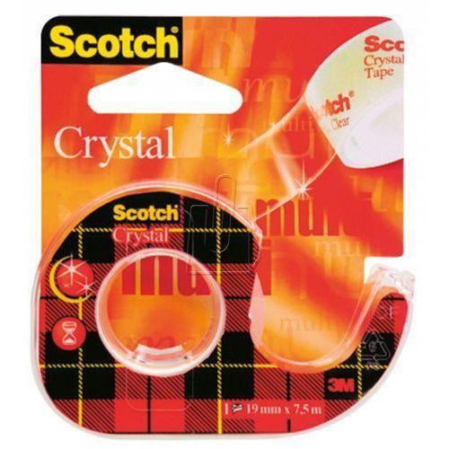 Taśma biurowa  scotch crystal clear z dyspenserem 6-1975 19mm x 7,5m marki 3m