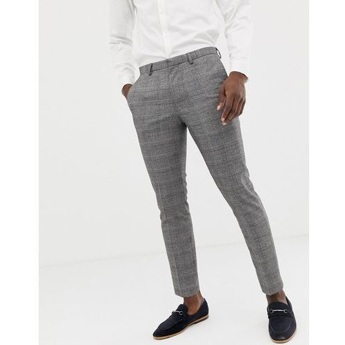 super skinny fit suit trouser in window pane check in red and greay - red, Burton menswear