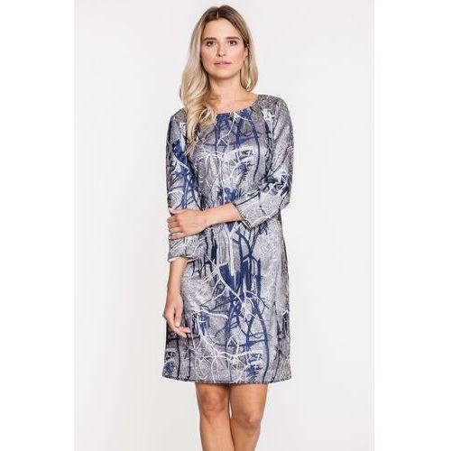 Żakardowa sukienka w srebrnych odcieniach - marki Potis & verso