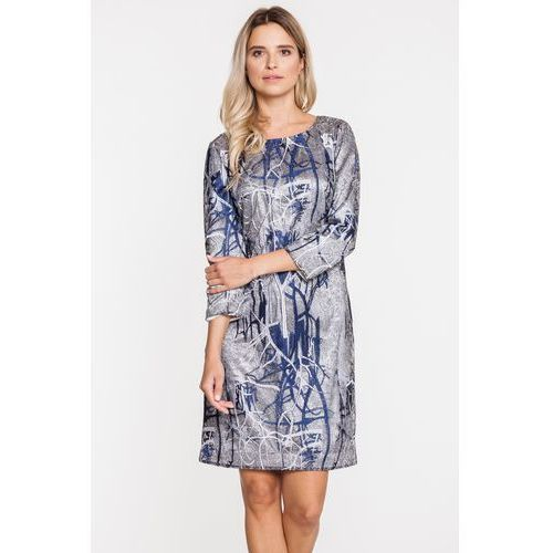 Żakardowa sukienka w srebrnych odcieniach - Potis & Verso, kolor szary