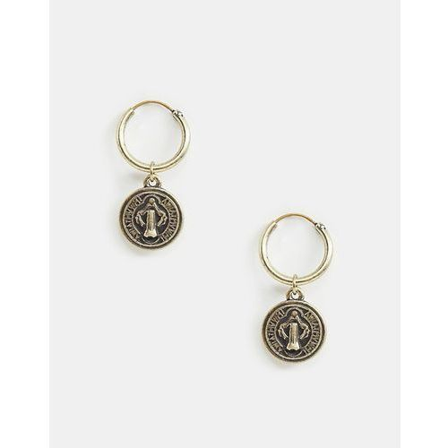 Reclaimed vintage inspired hoop earrings with coin in burnished gold exclusive at asos - gold