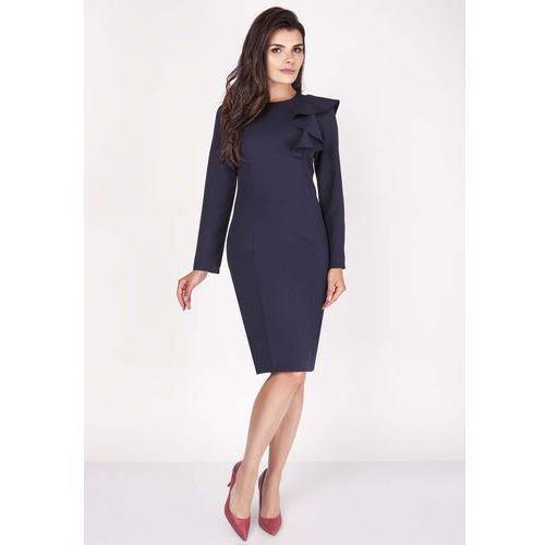 Granatowa Sukienki Ołówkowa Midi z Falbaną na Ramieniu, w 6 rozmiarach