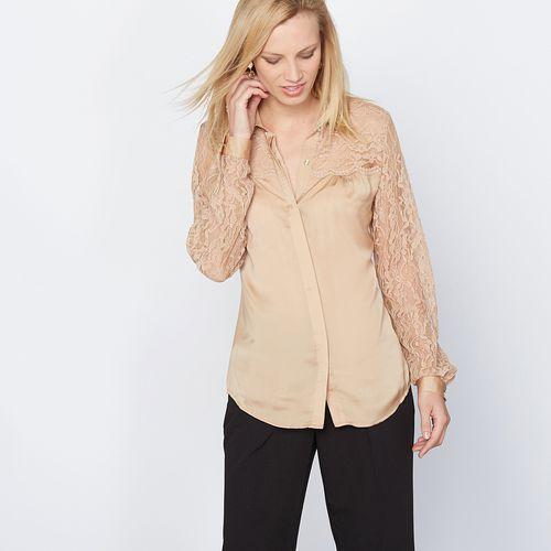 Bluzka koszulowa z satyny i koronki, ANNE WEYBURN