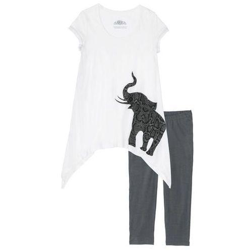 Piżama ze spodniami 3/4 i koszulką z dłuższymi bokami biel wełny - szary z nadrukiem, Bonprix