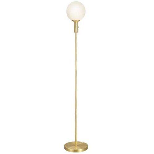Markslojd Stojąca lampa podłogowa minna 106867 minimalistyczna oprawa do salonu szklana kula ball mosiądz biała (7330024567375)