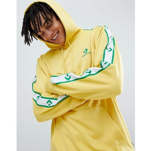 pullover hoodie with taped side stripes in yellow 10007588-a03 - yellow, Converse, XS-XXL