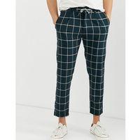 drawstring window pane check cropped trousers in dark green - grey, Jack & jones