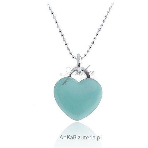 Naszyjnik srebrny z sercem w modnym kolorze seledyn marki Anka biżuteria