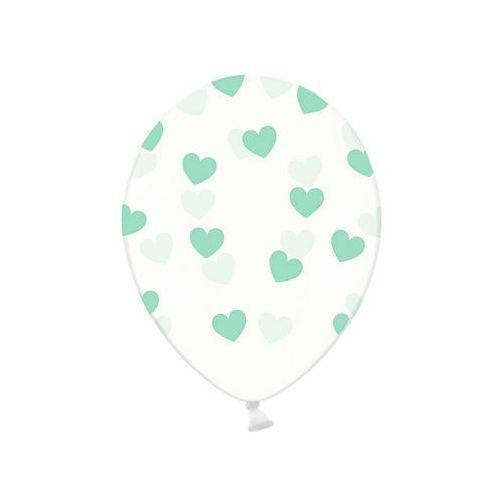 Twojestroje.pl Balon przezroczysty [serca] miętowe 30cm 1/50 (5902230798823)