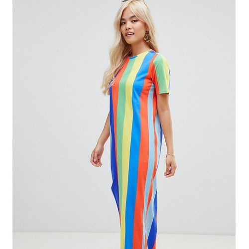 Asos petite Asos design petite ultimate t-shirt maxi dress in rainbow stripe - multi