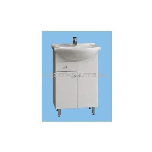 Deftrans aneta zestaw szafka na nóżkach z umywalką roberto 55, biały 032-d-05516+1521