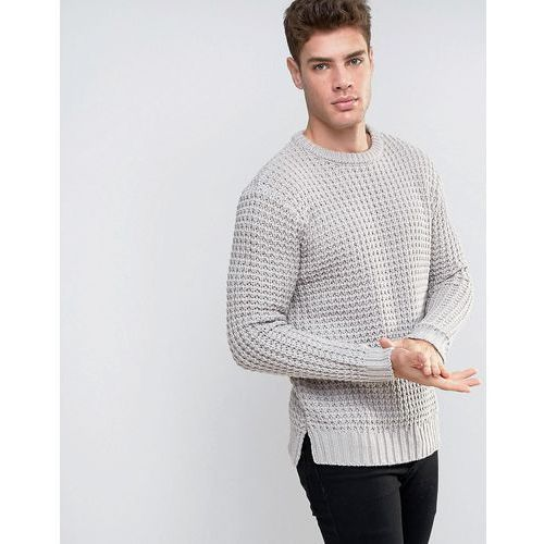 jumper with chunky waffle texture in stone - stone, marki River island