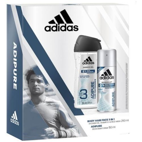 Adidas men zestaw prezentowy adipure ( dezodorant spray 150ml+żel pod prysznic 250ml )