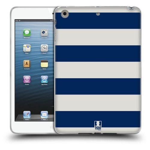 Etui silikonowe na tablet - Paski Białe i Niebieskie, kolor biały
