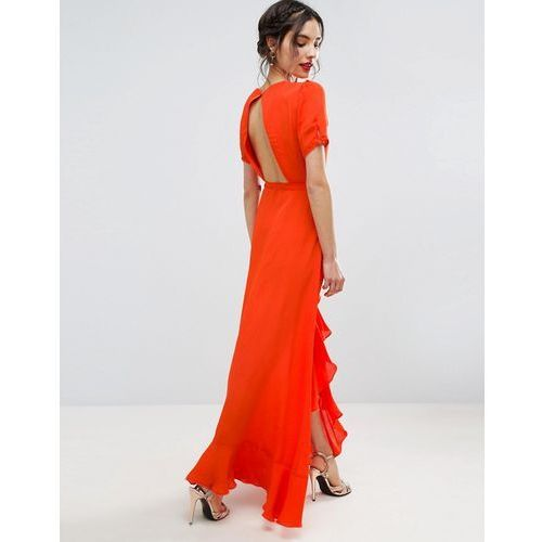 Asos  tea dress maxi with ruffle detail and open back - orange