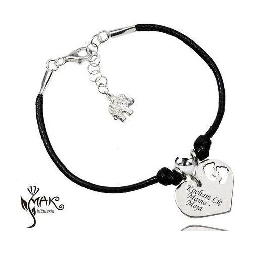 Br931 bransoletka z grawerem swarovski elements serce stópki dla mamy marki Mak-biżuteria