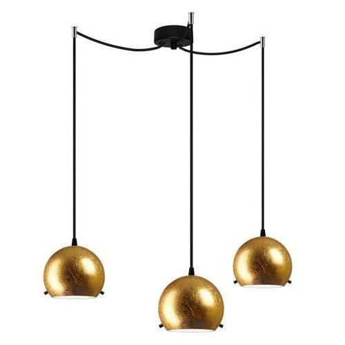LAMPA wisząca MYOO 3/S/GOLD/OPAL Sotto Luce szklana OPRAWA nowoczesna ZWIS kule złote, kolor Złoty
